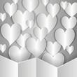 много бумажных сердец на сером фоне