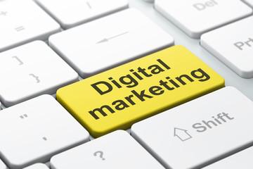 Marketing concept: Digital Marketing on keyboard background