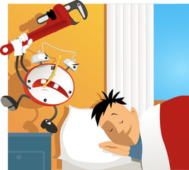 Crazy alarm clock hitting a sleeping man with a wrench