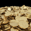 Golden bitcoin coins isolated with clipping path