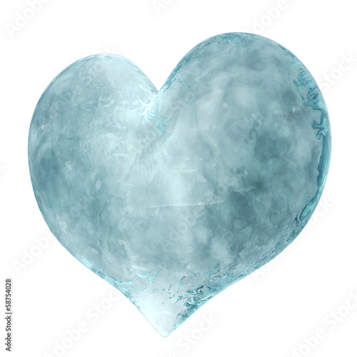 3D heart made of ice isolated on white