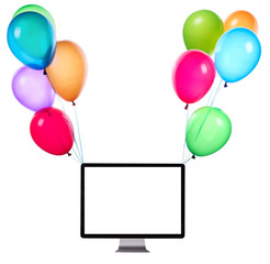 computer hanging on color balloons