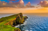 Colorful ocean coast sunset at Neist point lighthouse, Scotland