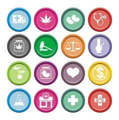 medical marijuana icons - round icons