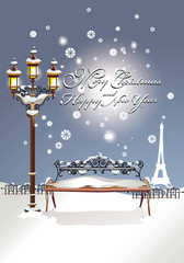 Christmas card. Winter in the park in Paris