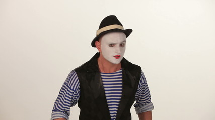 man mime on a white background