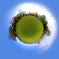 Little tiny planet golf course green field, Small world