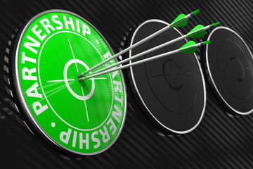 Partnership Words on Green Target.