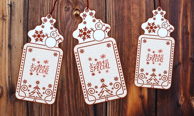 three christmas cards with christmas special sign