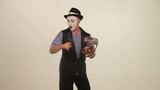 man mime with a phone