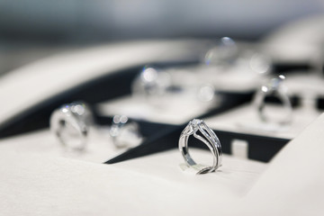 Close up of collection of rings in the jeweler's shop