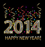 Vector of New Year 2014 in gold diamonds and confetti