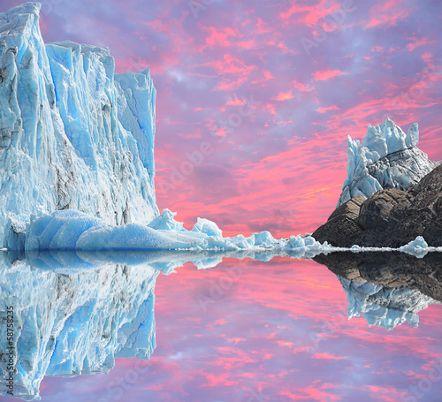 Sunset sky above Perito Moreno glacier. - 58758235