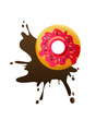 Donut with chocolate splash