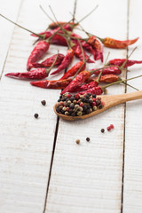 Mixed pepper and chili on wooden background