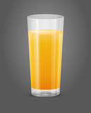 vector transparent glass of orange juice isolated
