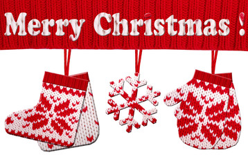christmas symbol shapes cut from knitted pattern