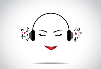 woman listening to great music love concept design unusual art
