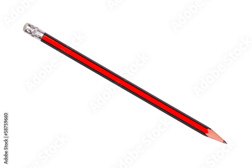 Red and black pencil isolated on white background
