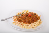 Spaghetti Twirled on Fork with Meat Sauce