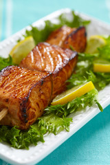Delicious roasted salmon on skewers
