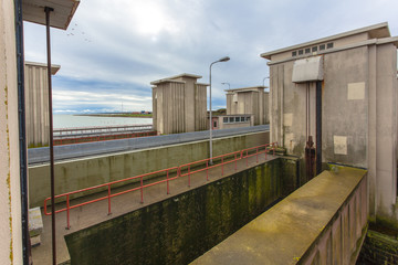 Sluice Stevinsluis in Dutch Delta Works Storm Protection
