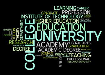University and college - word cloud