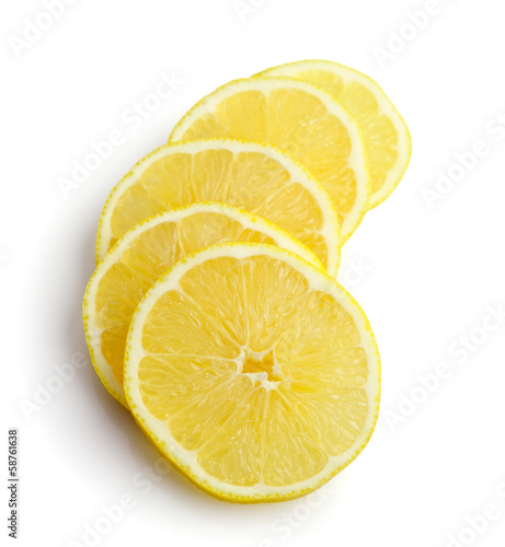 slices of lemon on white background