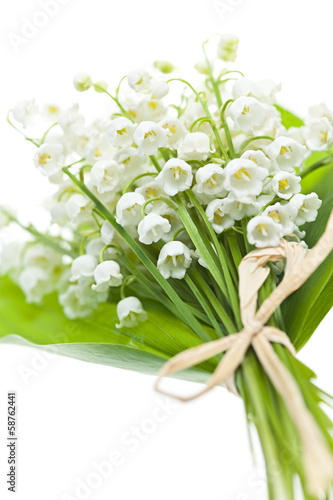 Papiers peints Muguet de mai Lily-of-the-valley flowers on white