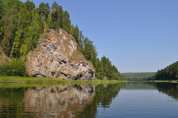 Yellow rock on the Chusovaya River