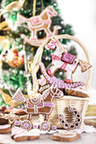 Gingerbread Christmas tree on background
