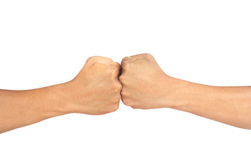 A close up image of a fist bump against white background