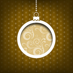 Christmas ball. Swirls decoration on yellow. Vintage style