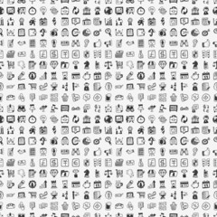 seamless 100 doodle business pattern