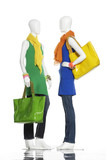 two female clothes with bag and scarf on mannequin