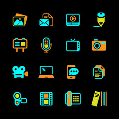 Multimedia and business Icons basic colored on black series
