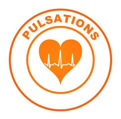 pulsations sur bouton web rond orange