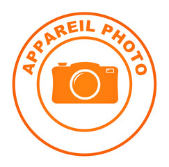 appareil photo sur bouton web rond orange