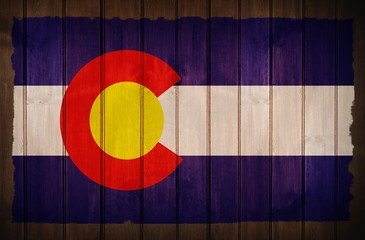Colorado Flag on Wood