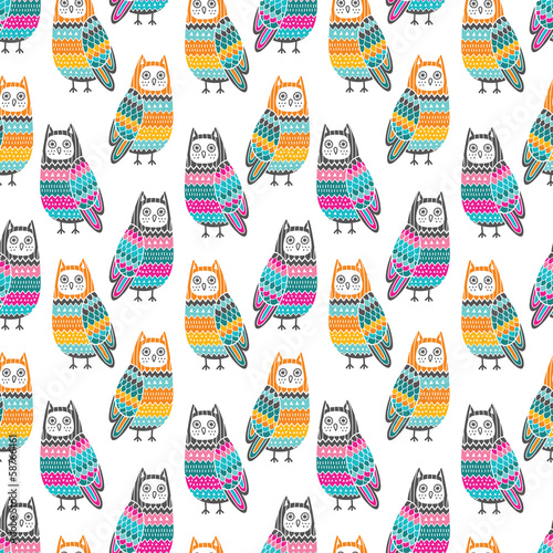 Owls seamless pattern - 58766461