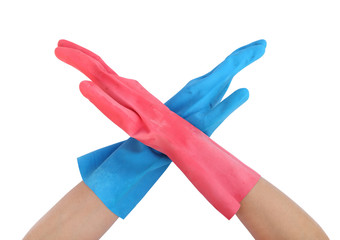hand with gloves and stopping on white background