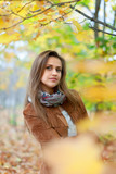 Portrait of beauty girl in autumn