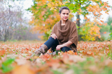 beauty woman  in autumn park