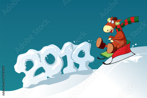 Symbol of year 2014 - Funny sledding horse