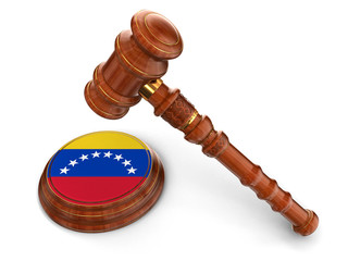 Wooden Mallet and Venezuela flag (clipping path included)