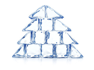 Christmas tree maded with ice blocks