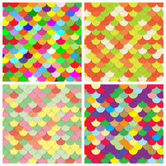 Scale color paper backgrounds set. Fish abstract Scales Patterns