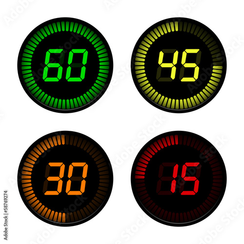 Digital Countdown Timer on white background