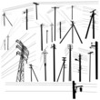 Pylon high voltage power lines silhouette set - 58769424
