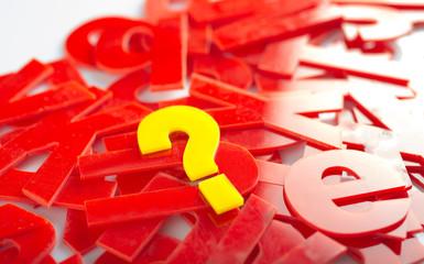 question mark letter closeup